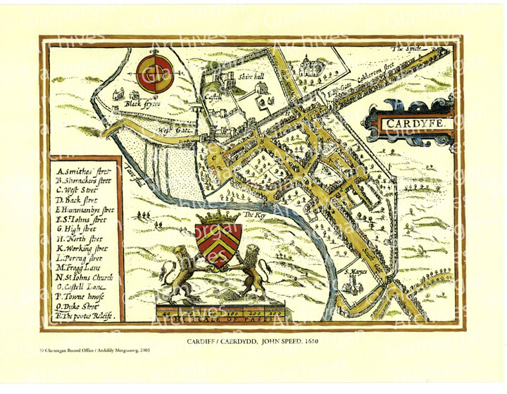 Watermarked Cardiff 1610 - John Speed
