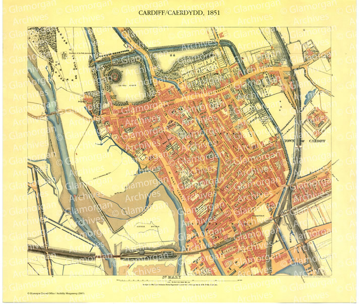 Watermarked Cardiff 1851 - St Mary