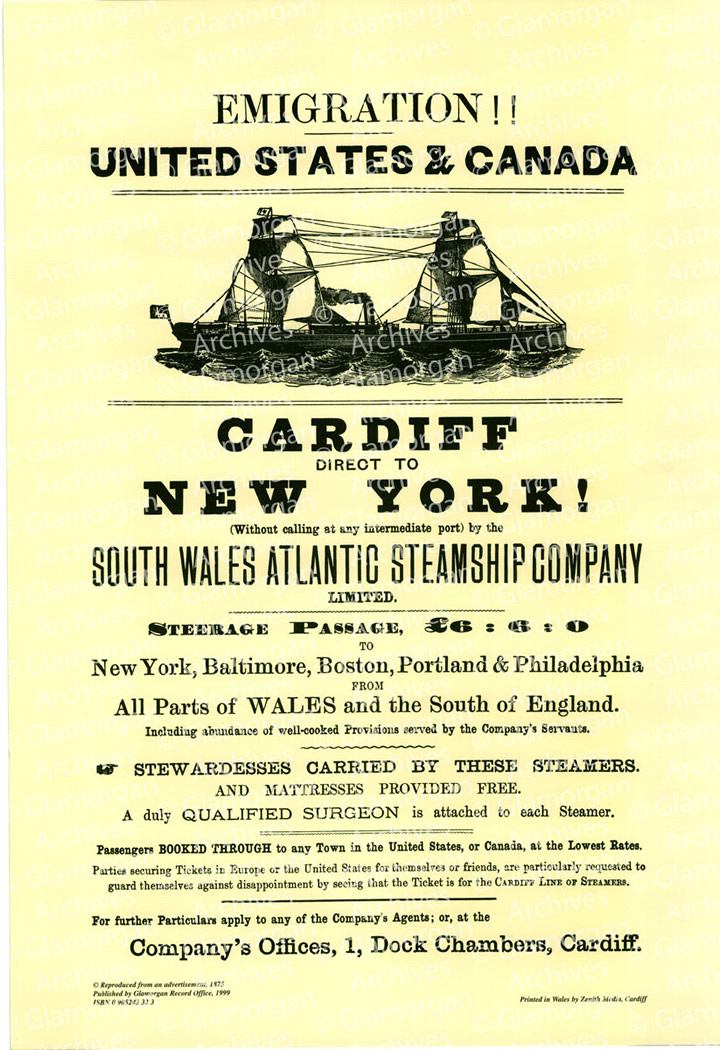 Watermarked Emigration Poster - South Wales Atlantic Steamship Company - 1877