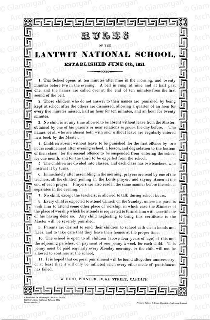 Watermarked Rules of Llantwit Major National School - 1831